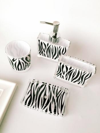 【Z333013】低調奢華斑馬紋香皂盒.牙刷架.漱口杯.乳液瓶衛浴洗漱用品套裝組-Cheer