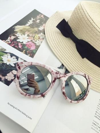 【Z331032】潮流大理石紋貝殼紋大粗框太陽眼鏡/男女情侶款墨鏡-Honey