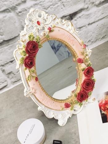 【Z432129】歐風華麗公主風立體薔薇彩繪造型桌上鏡/立鏡/化妝鏡-Apparel