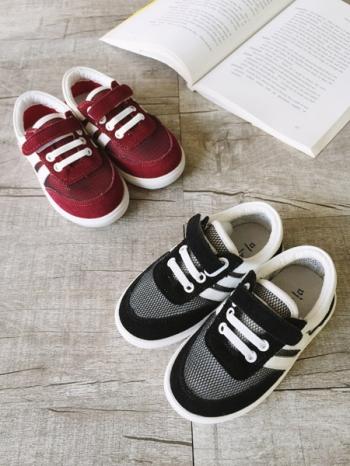 【Z325034】運動風撞色黏釦繫帶造型網布男女童鞋/兒童布鞋/慢跑鞋-Adorable