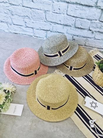 【Z317065】夏日平撞色織帶裝飾設計寬帽沿防曬遮陽帽/草帽-Reform