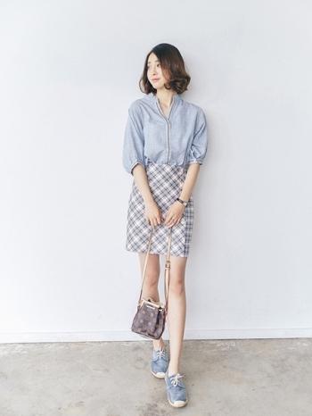 【Z312154】英倫學院風格紋排釦設計高腰裙/短裙/窄裙/包裙-Fairy