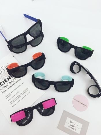 【Z331061】新潮流行戶外運動啪啪圈鏡架可摺疊太陽眼鏡/男女情侶款墨鏡-Current