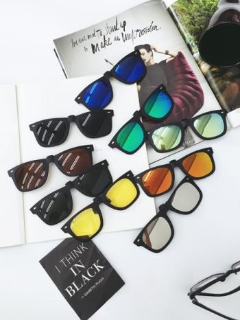 【Z331063】近視眼鏡夾片/駕駛鏡片/粗框造型炫彩可翻式偏光太陽眼鏡夾片-Current