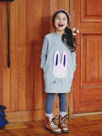 【Z320098】休閒拼接立體小兔子造型長袖洋裝/女童/兒童/童裝-Darling