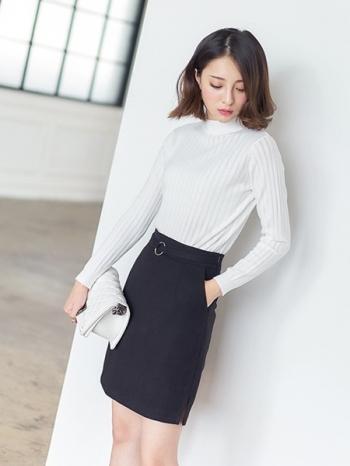 【Z312177】都會上班族穿搭裝飾圈環腰帶造型絨呢短裙/A字裙-Purely