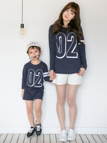 【Z328040】(兒童款)韓風數字圖案長袖上衣/童裝/長T/親子裝(小孩)-Swag