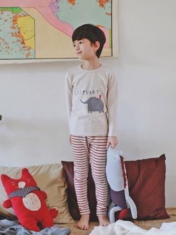 【Z327041】童趣插畫風大象圖案長T/條紋長褲/兒童/睡衣/成套居家服/套裝-Wawa