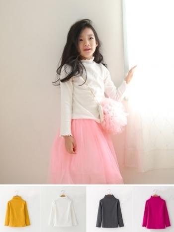 【Z328098】(兒童款)純色波浪捲邊造型打底上衣/長T/長袖上衣/童裝/兒童款/親子裝-Cowrie