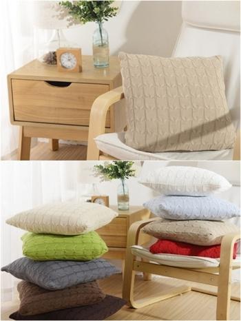 【Z333165】北歐風簡約純色素面針織麻花紋枕頭/抱枕/沙發枕/靠墊-Lagom