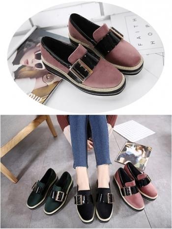 【Z415013】時尚撞色拼皮金屬釦環造型鬆糕鞋/包鞋/樂福鞋/厚底鞋/便鞋-Show