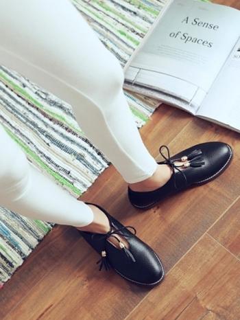 【Z415029】韓系簡約流蘇綁帶造型皮質休閒鞋/便鞋/皮鞋-Heaven