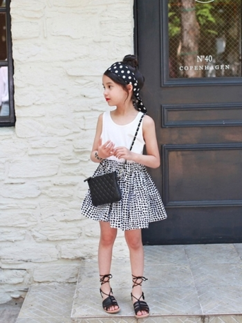 【Z420086】法式輕甜假兩件視覺點點連身裙/背心裙/洋裝/兒童/童裝-Center
