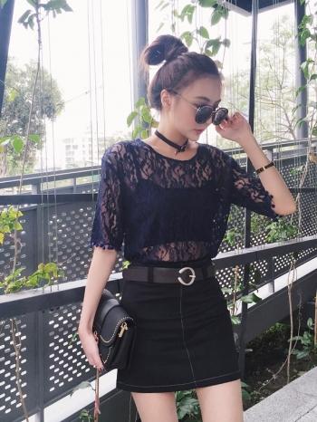 【Z411023】韓系lady風流蘇球球透視鏤空蕾絲花樣造型短袖上衣-Select