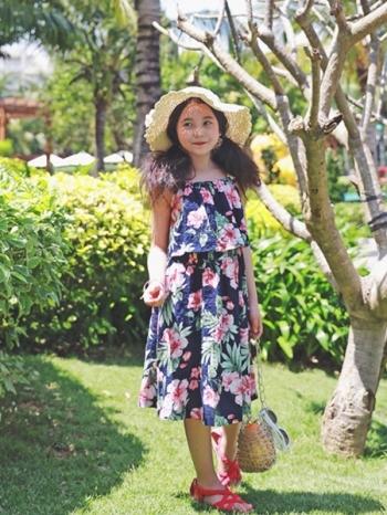 【Z420098】海灘風夏日花卉印花吊帶連身裙/洋裝/背心裙/童裝-Revolve
