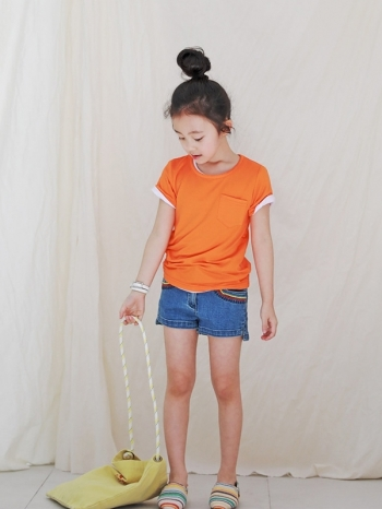 【Z421027】百搭基本款單口袋素T/T恤/短T/上衣/童裝-Revolve