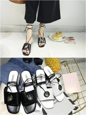 【Z415088】 歐美時尚繞踝交叉綁帶羅馬涼鞋/低跟粗跟涼拖鞋-Pick