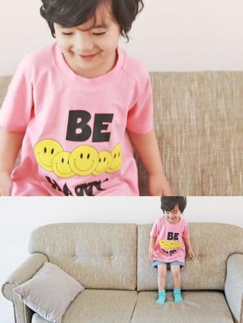 【Z421033】(兒童款)韓風黃色笑臉圖案T恤/短T/上衣/童裝/親子裝-Zenith