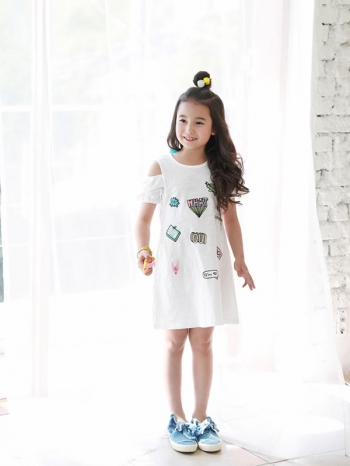 【Z420153】美式普普風插畫圖案連身裙/露肩洋裝/背心裙/童裝-Zenith