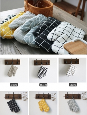 【Z433120】北歐風幾何造型棉麻加厚鋪棉廚房烘焙手套/隔熱手套-Garish