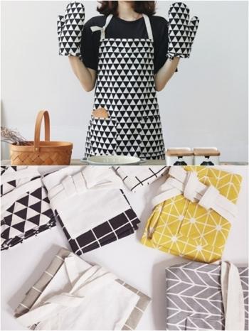 【Z433121】北歐風幾何圖案套脖綁帶腰帶綁繩雙口袋造型咖啡廳/烘培/工作圍裙-Garish