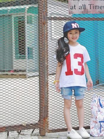 【Z421043】(兒童款)運動風數字圖案T恤/短T/上衣/童裝/親子裝-Yearn