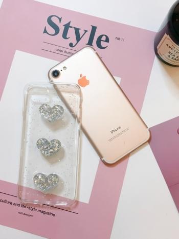 【Z437095】蘋果iphone 6/6s.6plus/6s plus.7/7plus 亮片立體愛心透明手機殼-Easily