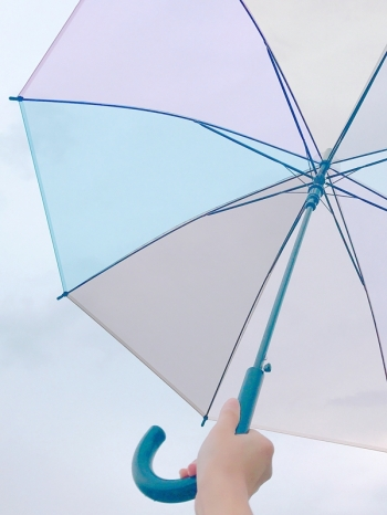 【Z436046】日系女孩風半透繽紛色彩造型自動傘/雨傘-Present