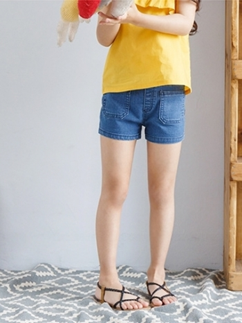 【Z424039】休閒風雙口袋牛仔短褲/休閒褲/單寧褲/童裝-Children