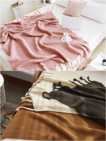【Z433183】IG人氣款純色粗針編織流蘇辮子造型蓋毯/毯子/空調毯-Flight