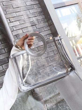 【Z416088】時尚流行透明果凍包/子母包/手提袋/手提包(附零錢包)-Flight