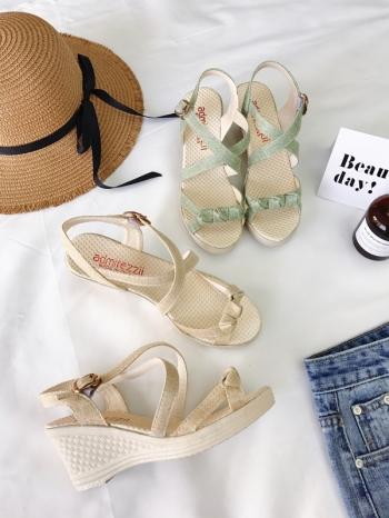 【Z415118】歐美時尚交叉繞踝側釦厚底坡跟鞋/楔型鞋/涼鞋-Moveon