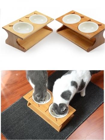 【Z436065】墊高木架雙碗設計飼料碗/貓碗/狗碗/陶瓷寵物碗-Inspired
