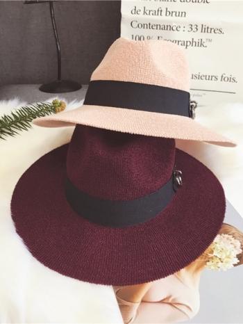 【Z417064】英倫風百搭針織線編金屬裝飾中性帽/爵士帽/遮陽帽/紳士帽-Hunch