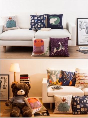 【Z433114】可愛插畫風動物圖案亞麻材質枕頭/抱枕/沙發枕/靠墊-Hunch