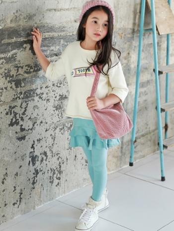 【Z423033】(兒童款)百搭純色假兩件拼接短裙造型內搭褲/legging/長褲/褲裙/童裝/親子裝-Stroll