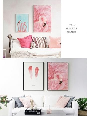 【Z433282】(60x80cm)居家擺設裝飾紅鶴圖案油畫畫框/藝術掛畫(框種類可選)-Leap
