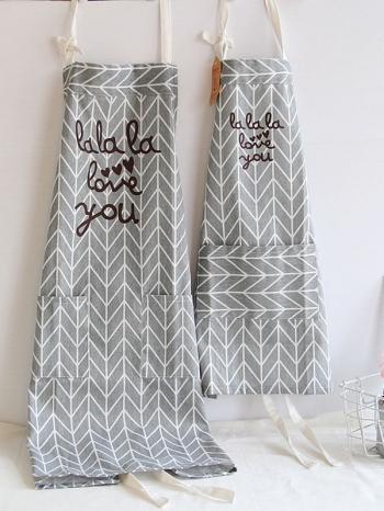 【Z438063】(兒童)北歐風幾何圖案套脖綁帶收納口袋造型咖啡廳/烘培/兒童親子圍裙-Quality