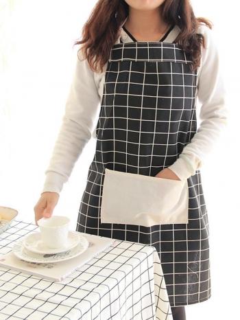 【Z438064】(成人)北歐風幾何圖案套脖綁帶收納口袋造型咖啡廳/烘培/媽媽親子圍裙-Quality