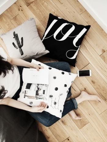 【Z433342】北歐風簡約仙人掌波點字母圖案方型枕頭/抱枕/沙發枕/靠墊-Space