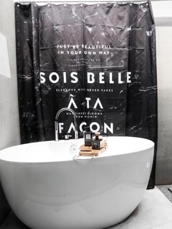 【Z433350】時尚大理石紋浴室廁所防水防霉浴簾/門簾(附掛鉤)-Space