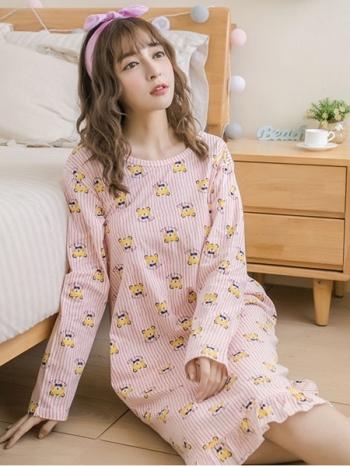 【Z413137】甜美休閒小熊圖案棉質睡裙/長袖連身裙/居家服/連身睡衣-Achieve