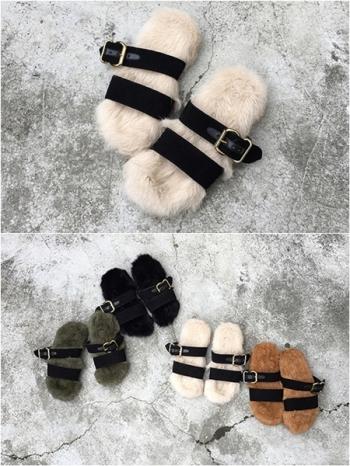 【Z415232】歐美風時尚皮草絨毛底造型平底涼鞋/毛毛拖鞋-Belle