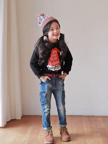 【Z428072】(兒童款)童趣耶誕帽圖案圖案長袖上衣/內刷毛大學T/大童/童裝/親子裝-Jollity
