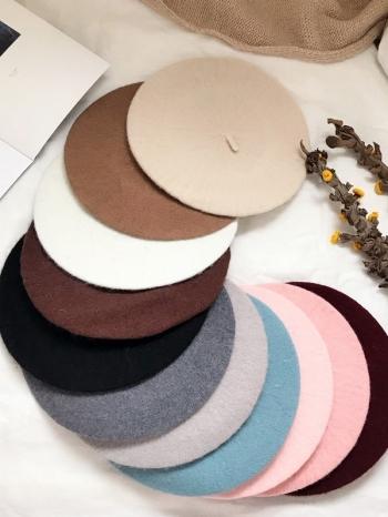 【Z417087】純色百搭柔軟針織質料畫家帽/報童帽/貝雷帽/畫家帽-Glow