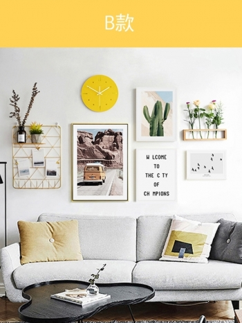 【Z433589】北歐風居家客廳牆面布置裝飾畫框/金屬網格架/照片牆/時鐘/花盆/花器(7件組販售)-Lay