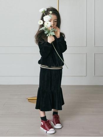 【Z420298】時尚風絲絨面料長袖上衣/長T/大學T/中長裙/套裝/大童/童裝-Beam