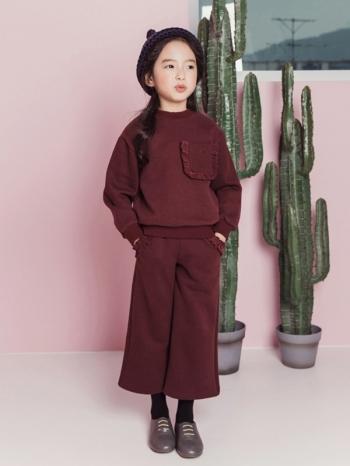 【Z420300】純色加厚保暖內刷毛長袖上衣/長T/寬褲/長褲/套裝/大童/童裝-Beam