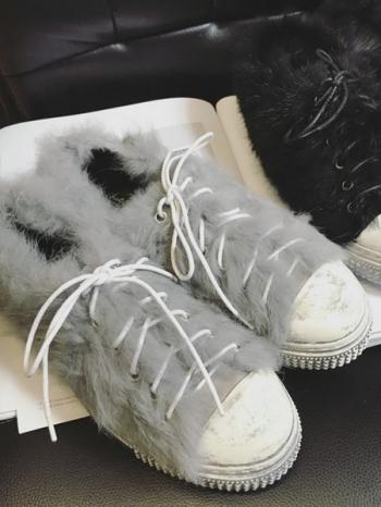 【Z415225】時尚皮草覆蓋造型仿舊刷色鞋底造型平底鞋/休閒鞋-Eminent