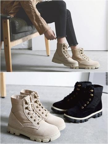 【Z415256】韓系休閒風拼接材質設計繫帶造型短靴/機車靴-Precious